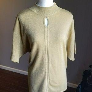 Gold short sleeved keyhole sweater